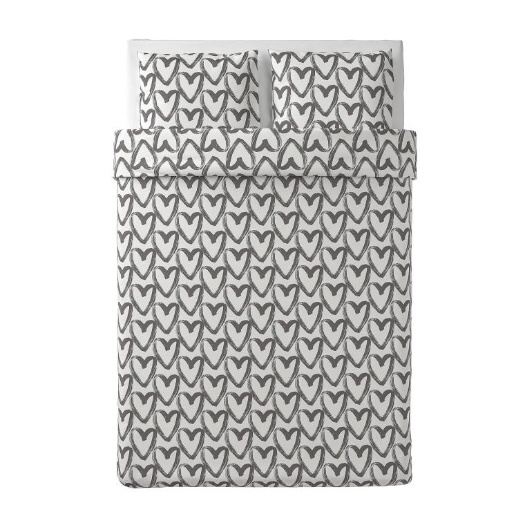 Комплект постільної білизни IKEA LYKTFIBBLA білий/сірий (804.664.05)