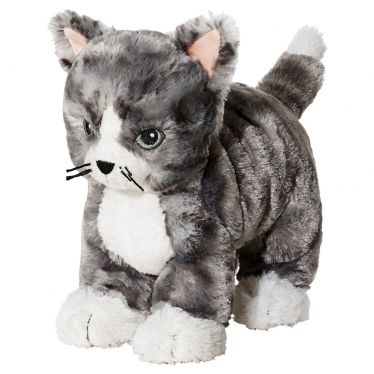 М'яка іграшка IKEA LILLEPLUTT сірий/білий кіт (002.604.51)