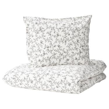 Комплект постільної білизни IKEA KOPPARRANKA білий/темно-сірий (204.496.64)