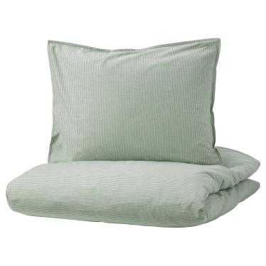 Комплект постільної білизни IKEA BERGPALM зелений/полосатий (404.232.05)