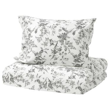Комплект постільної білизни IKEA ALVINE KVIST білий/сірий (001.596.41)