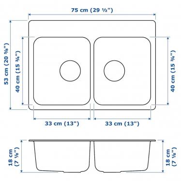 Подвійна мийка IKEA LANGUDDEN 75x53 см (191.574.87)