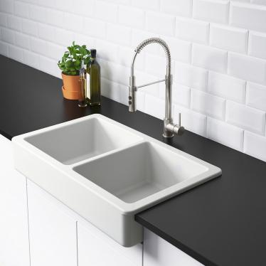 Подвійна мийка з фронтальним виступом IKEA HAVSEN 82x48 см (792.502.65)