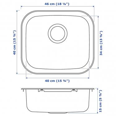 Одинарная мойка IKEA FYNDIG 46x40 см (591.580.03)