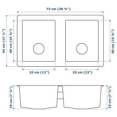 Подвійна мийка IKEA NORRSJON 73x44 см (391.579.19)