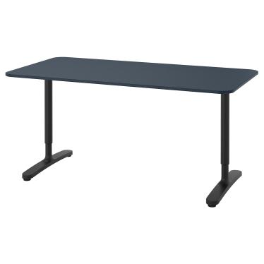 Письмовий стіл IKEA BEKANT 160х80 см синьо-чорний (492.827.67)
