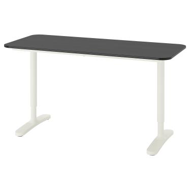 Письмовий стіл IKEA BEKANT 140х60 см чорно-білий (692.826.72)