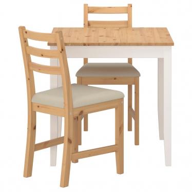 Стіл і 2 стільці IKEA LERHAMN 74x74 см морилка/бежевий (393.062.88)