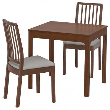 Стіл і 2 стільці IKEA EKEDALEN / EKEDALEN 80/120 см коричневий/сірий (192.968.79)
