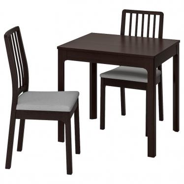 Стіл і 2 стільці IKEA EKEDALEN / EKEDALEN 80/120 см темно-коричневий/сірий (292.968.74)