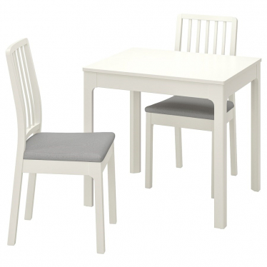 Стіл і 2 стільці IKEA EKEDALEN / EKEDALEN 80/120 см білий/сірий (892.968.66)