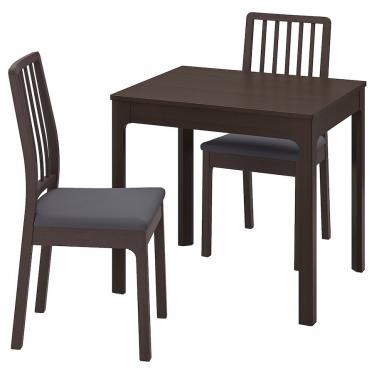 Стіл і 2 крісла IKEA EKEDALEN / EKEDALEN 80/120 см темно-коричневий/сірий (494.293.97)