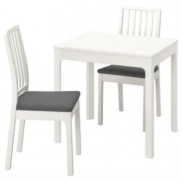 Стіл і 2 стільці IKEA EKEDALEN / EKEDALEN 80/120 см білий/сірий (194.293.89)
