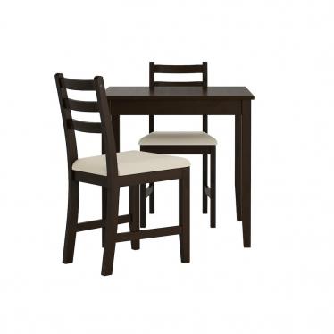 Стіл і 2 стільці IKEA LERHAMN 74x74 см чорно-коричневий/бежевий(593.062.68)