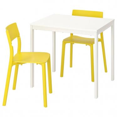 Стіл і 2 стільці IKEA VANGSTA / JANINGE 80/120 см білий/жовтий (592.212.12)