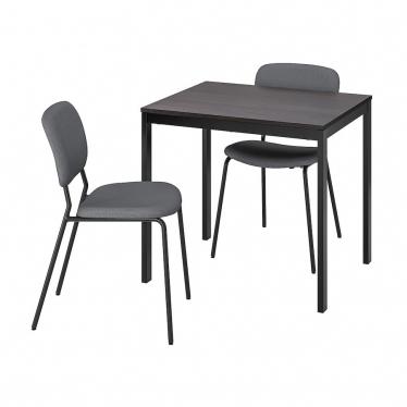 Стіл і 2 стільці IKEA VANGSTA / KARLJAN 80/120 см чорний темно-коричневий/сірий (093.887.61)
