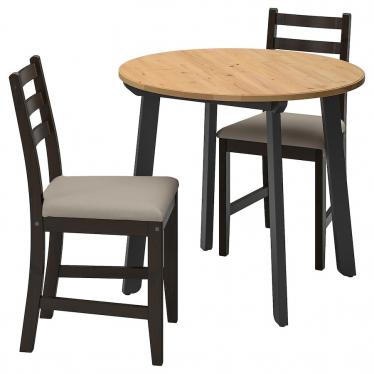 Стіл і 2 стільці IKEA GAMLARED / LERHAMN 85 см морилка чорно-коричневий/бежевий (792.211.69)