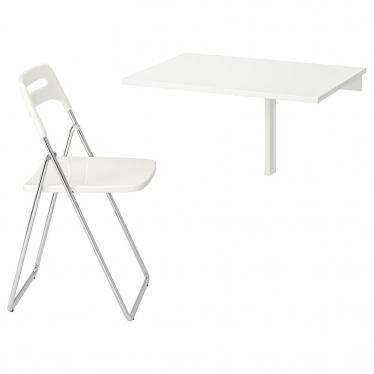 Стіл і 1 стілець IKEA NORBERG / NISSE 74 см білий (799.127.60)