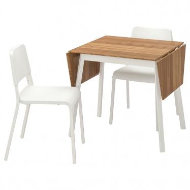 Стіл і 2 стільці IKEA IKEA PS 2012 / TEODORES бамбук білий / білий (892.214.75)