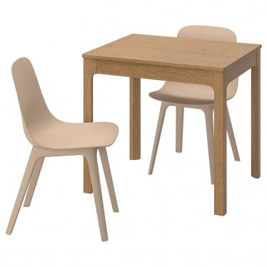 Стіл і 2 стільці IKEA EKEDALEN / ODGER 80/120 см дуб/бежевий (492.214.01)