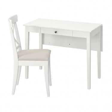 Стіл і 1 стілець IKEA IDANAS / INGOLF білий / Hallarp бежевий (193.887.51)