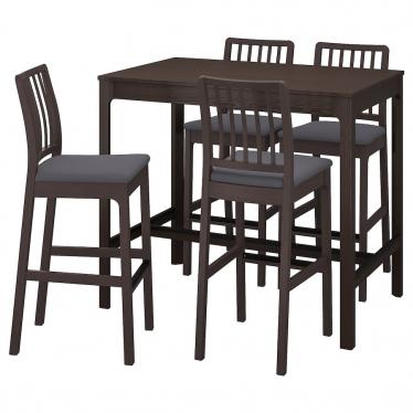 Барний стіл + 4 барні стільці IKEA EKEDALEN / EKEDALEN темно -коричневий / Hakebo (894.295.12)