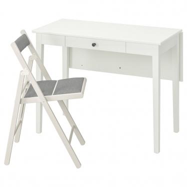 Стіл і 1 стілець IKEA IDANAS / TERJE білий / Knisa світло -сірий (093.887.56)