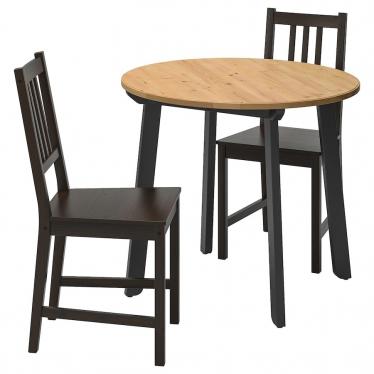 Стіл і 2 стільці IKEA GAMLARED / STEFAN 85 см морилка/чорно-коричневий (592.211.65)