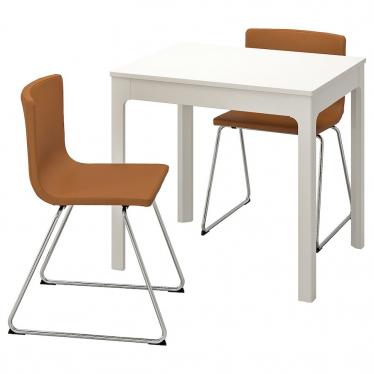 Стіл і 2 стільці IKEA EKEDALEN / BERNHARD 80/120 см білий/золото-коричневий (092.806.90)