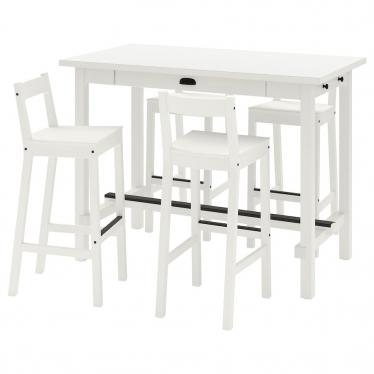 Барний стіл + 4 барні стільці IKEA NORDVIKEN / NORDVIKEN білий (193.335.27)
