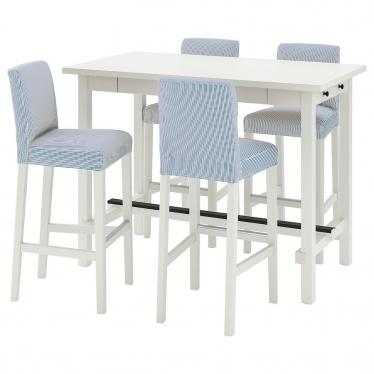 Барний стіл + 4 барні стільці IKEA NORDVIKEN / BERGMUND білий/синьо-білий (494.086.96)