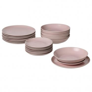 Сервіз IKEA FARGKLAR 24 предмети матовий світло-рожевий (604.782.25)
