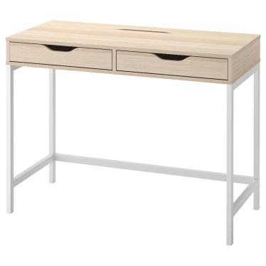Письмовий стіл IKEA ALEX 100х48 см біла морилка/імітація дуба (504.735.58)